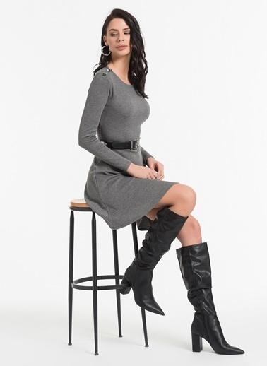 Styletag Düğme Detaylı Elbise Gri